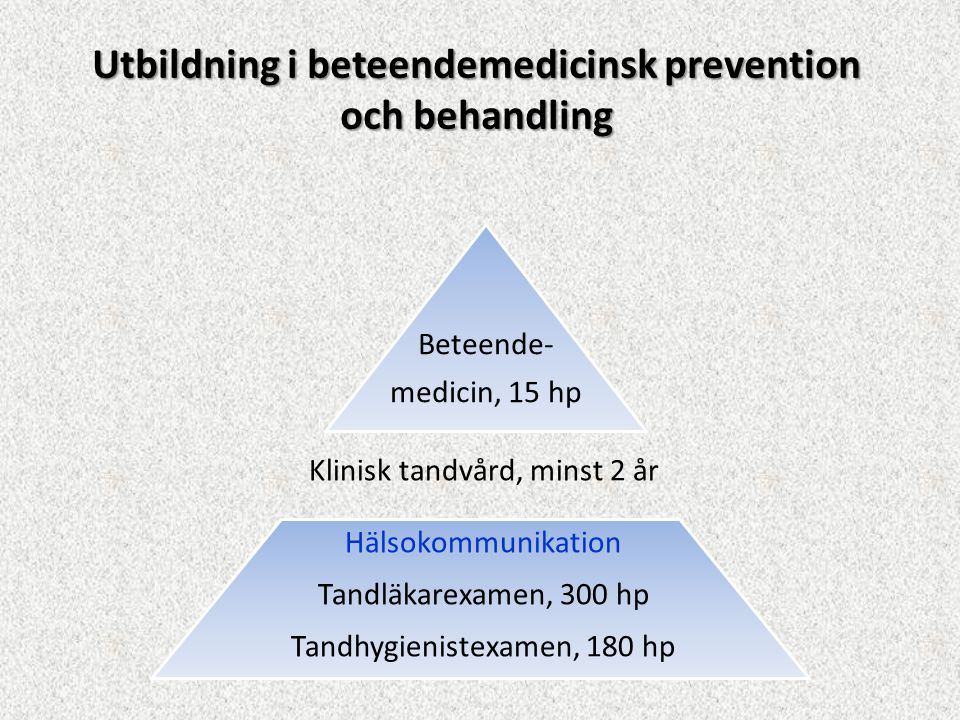 Utbildning i beteendemedicinsk prevention och behandling Hälsokommunikation Tandläkarexamen, 300 hp Tandhygienistexamen, 180 hp Klinisk tandvård, mins