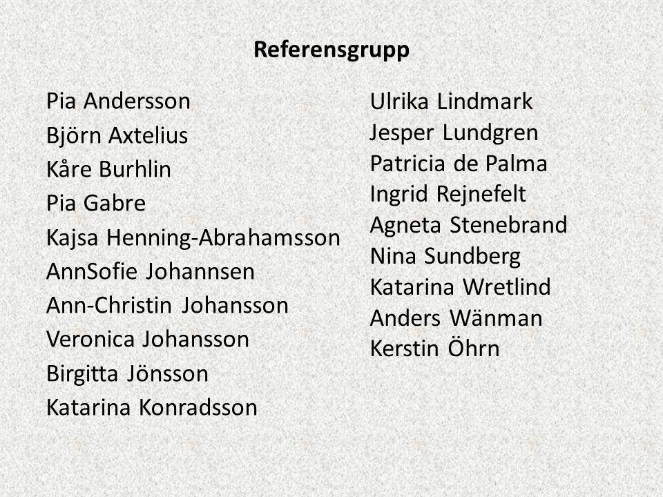 Referensgrupp Pia Andersson Björn Axtelius Kåre Burhlin Pia Gabre Kajsa Henning-Abrahamsson AnnSofie Johannsen Ann-Christin Johansson Veronica Johanss