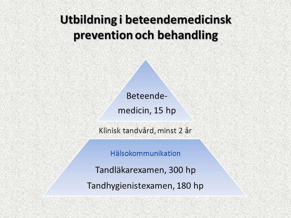 Utbildning i beteendemedicinsk prevention och behandling Klinisk tandvård, minst 2 år Beteende- medicin, 15 hp Tandläkarexamen, 300 hp Tandhygienistex