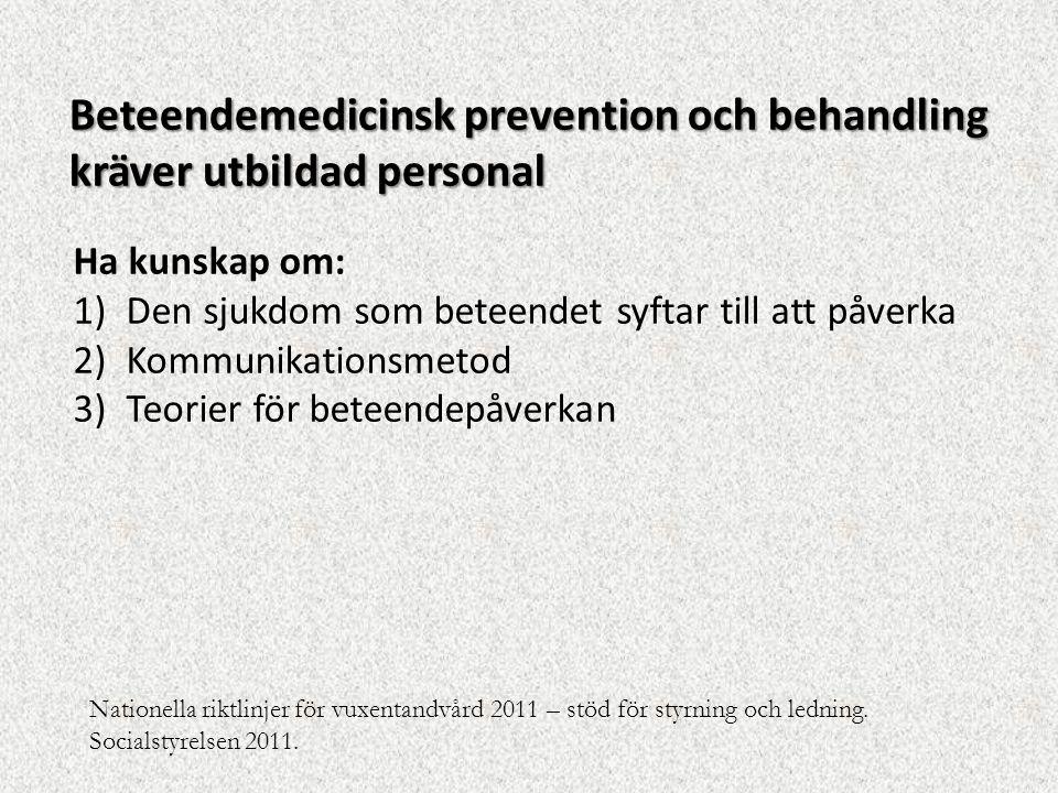 Ha kunskap om: 1)Den sjukdom som beteendet syftar till att påverka 2)Kommunikationsmetod 3)Teorier för beteendepåverkan Beteendemedicinsk prevention o