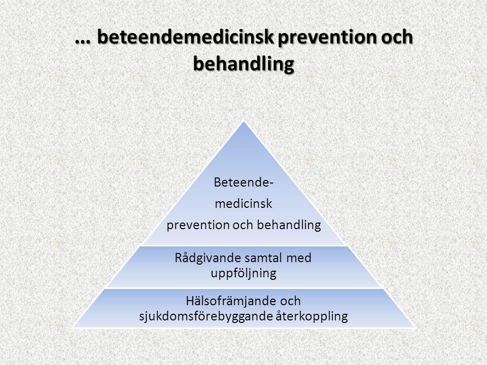 Hälsofrämjande och sjukdomsförebyggande återkoppling Rådgivande samtal med uppföljning Beteende- medicinsk prevention och behandling … beteendemedicin
