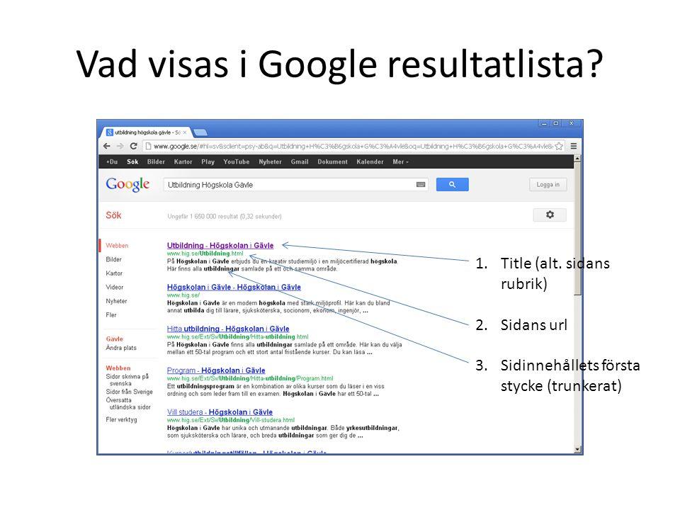 Vad visas i Google resultatlista? 1.Title (alt. sidans rubrik) 2.Sidans url 3.Sidinnehållets första stycke (trunkerat)