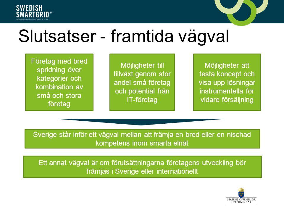 Slutsatser - framtida vägval Företag med bred spridning över kategorier och kombination av små och stora företag Möjligheter till tillväxt genom stor andel små företag och potential från IT-företag Möjligheter att testa koncept och visa upp lösningar instrumentella för vidare försäljning Sverige står inför ett vägval mellan att främja en bred eller en nischad kompetens inom smarta elnät Ett annat vägval är om förutsättningarna företagens utveckling bör främjas i Sverige eller internationellt