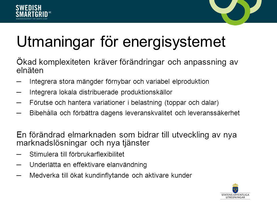 Utmaningar för energisystemet Ökad komplexiteten kräver förändringar och anpassning av elnäten – Integrera stora mängder förnybar och variabel elproduktion – Integrera lokala distribuerade produktionskällor – Förutse och hantera variationer i belastning (toppar och dalar) – Bibehålla och förbättra dagens leveranskvalitet och leveranssäkerhet En förändrad elmarknaden som bidrar till utveckling av nya marknadslösningar och nya tjänster – Stimulera till förbrukarflexibilitet – Underlätta en effektivare elanvändning – Medverka till ökat kundinflytande och aktivare kunder