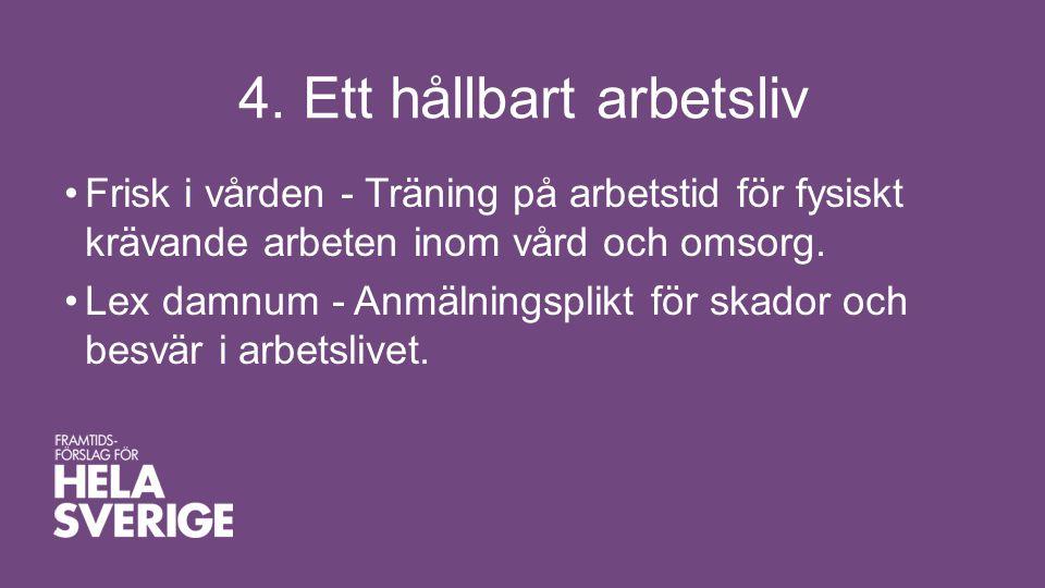 4. Ett hållbart arbetsliv •Frisk i vården - Träning på arbetstid för fysiskt krävande arbeten inom vård och omsorg. •Lex damnum - Anmälningsplikt för