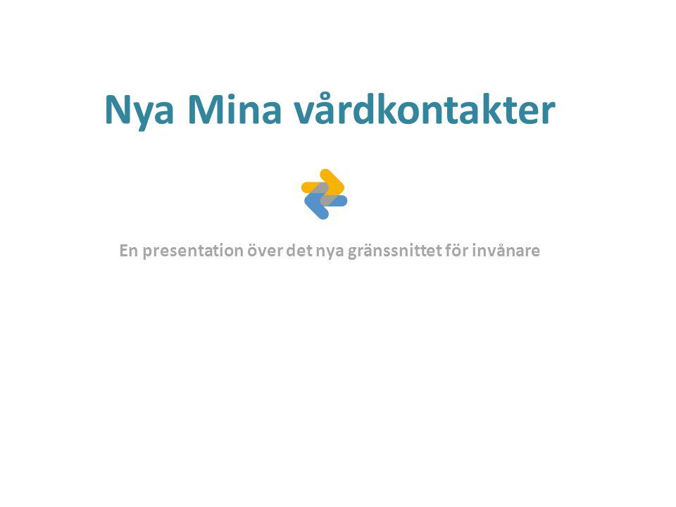 Nya Mina vårdkontakter En presentation över det nya gränssnittet för invånare