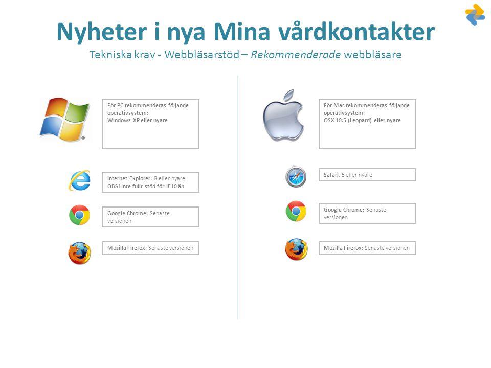 Nyheter i nya Mina vårdkontakter Tekniska krav - Webbläsarstöd – Rekommenderade webbläsare Internet Explorer: 8 eller nyare OBS! Inte fullt stöd för I
