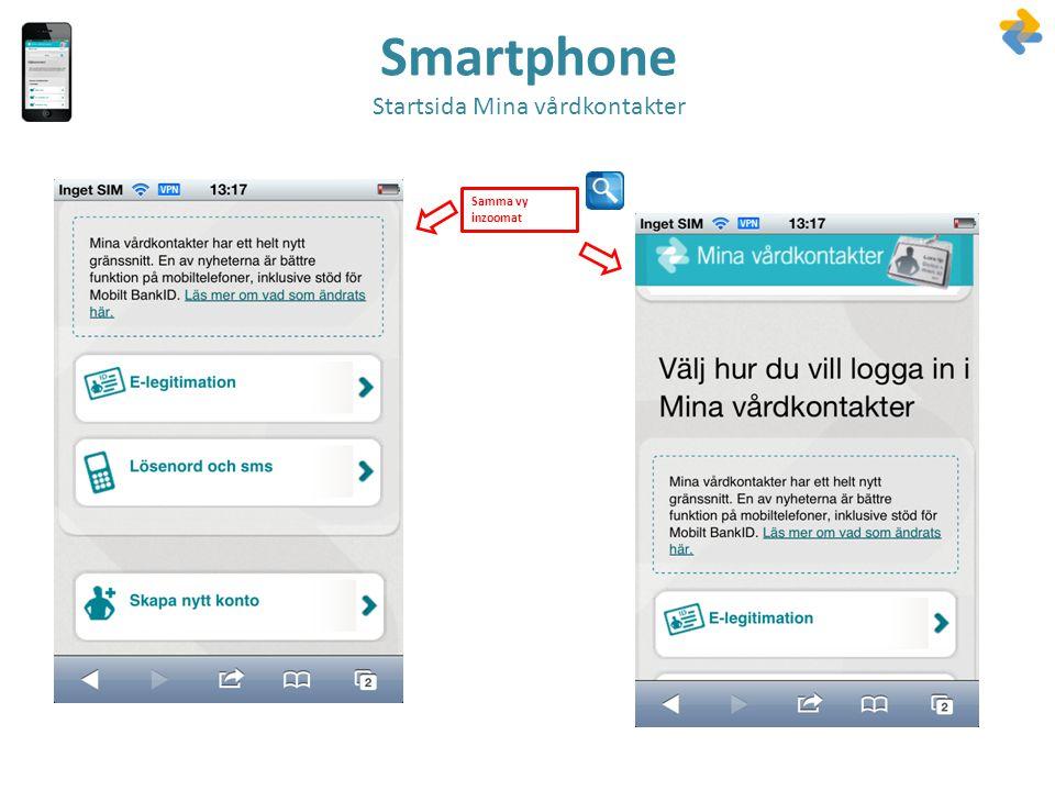 Smartphone Startsida Mina vårdkontakter Samma vy inzoomat