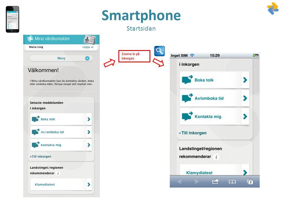 Smartphone Startsidan Zooma in på inkorgen
