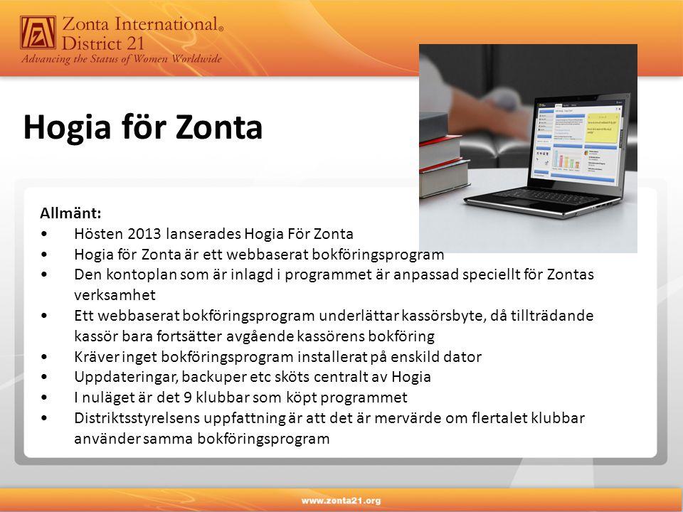 Hogia för Zonta Allmänt: •Hösten 2013 lanserades Hogia För Zonta •Hogia för Zonta är ett webbaserat bokföringsprogram •Den kontoplan som är inlagd i programmet är anpassad speciellt för Zontas verksamhet •Ett webbaserat bokföringsprogram underlättar kassörsbyte, då tillträdande kassör bara fortsätter avgående kassörens bokföring •Kräver inget bokföringsprogram installerat på enskild dator •Uppdateringar, backuper etc sköts centralt av Hogia •I nuläget är det 9 klubbar som köpt programmet •Distriktsstyrelsens uppfattning är att det är mervärde om flertalet klubbar använder samma bokföringsprogram