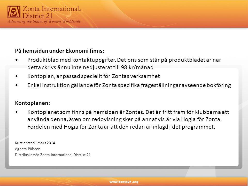 På hemsidan under Ekonomi finns: •Produktblad med kontaktuppgifter.