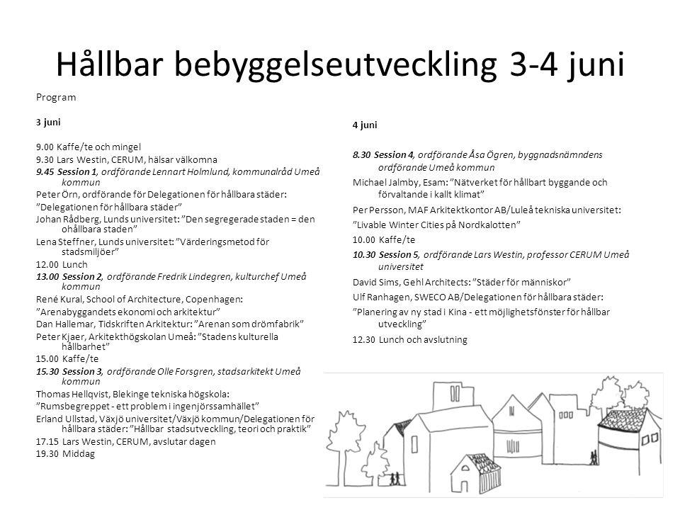 Hållbar bebyggelseutveckling 3-4 juni Program 3 juni 9.00 Kaffe/te och mingel 9.30 Lars Westin, CERUM, hälsar välkomna 9.45 Session 1, ordförande Lenn