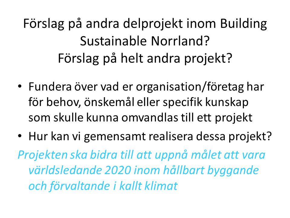 Förslag på andra delprojekt inom Building Sustainable Norrland? Förslag på helt andra projekt? • Fundera över vad er organisation/företag har för beho