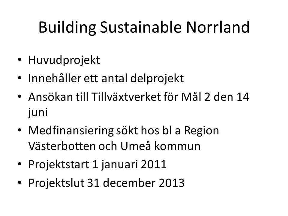 Building Sustainable Norrland • Huvudprojekt • Innehåller ett antal delprojekt • Ansökan till Tillväxtverket för Mål 2 den 14 juni • Medfinansiering s