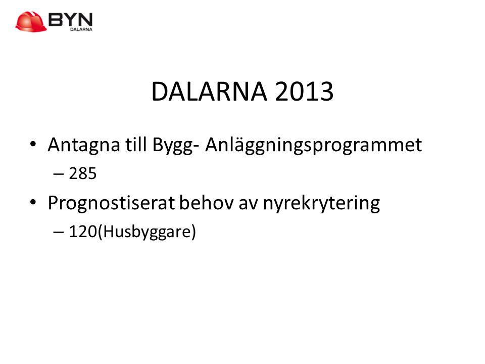 DALARNA 2013 • Antagna till Bygg- Anläggningsprogrammet – 285 • Prognostiserat behov av nyrekrytering – 120(Husbyggare)