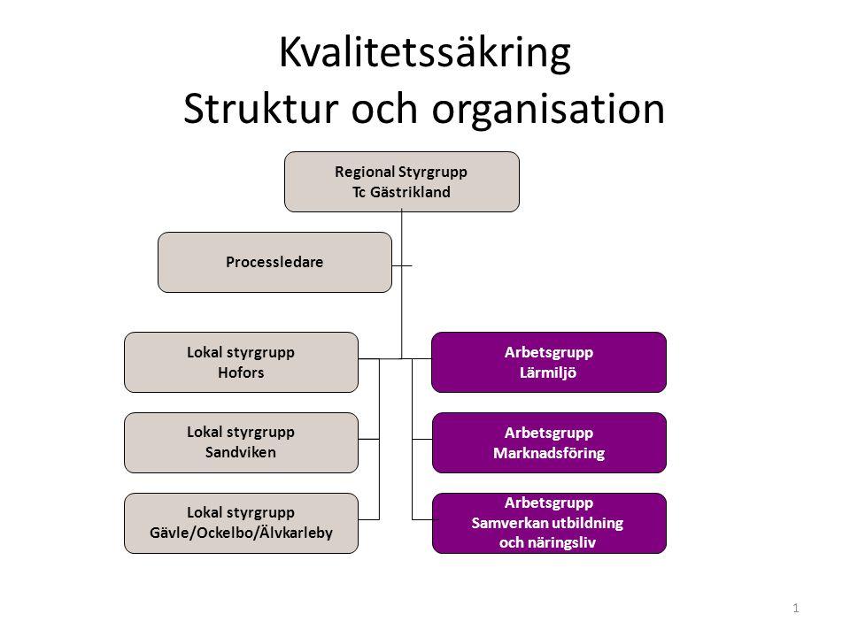 Kvalitetssäkring Struktur och organisation 1 Regional Styrgrupp Tc Gästrikland Lokal styrgrupp Gävle/Ockelbo/Älvkarleby Lokal styrgrupp Hofors Lokal s