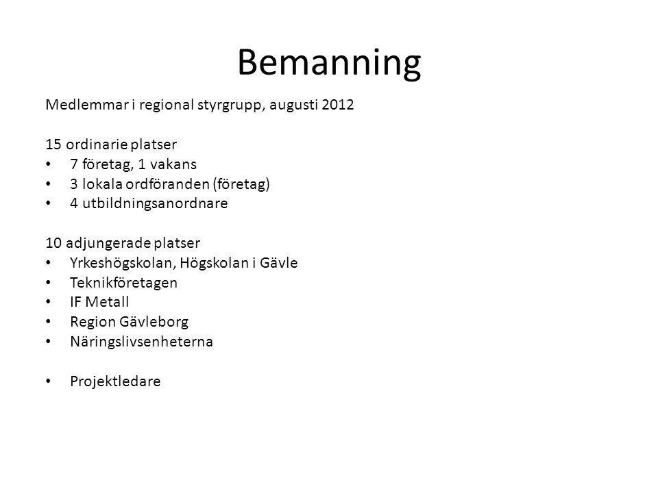 Bemanning Medlemmar i regional styrgrupp, augusti 2012 15 ordinarie platser • 7 företag, 1 vakans • 3 lokala ordföranden (företag) • 4 utbildningsanor