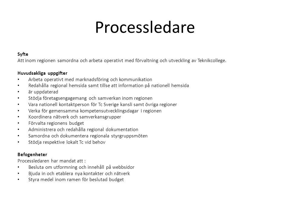 Processledare Syfte Att inom regionen samordna och arbeta operativt med förvaltning och utveckling av Teknikcollege. Huvudsakliga uppgifter • Arbeta o