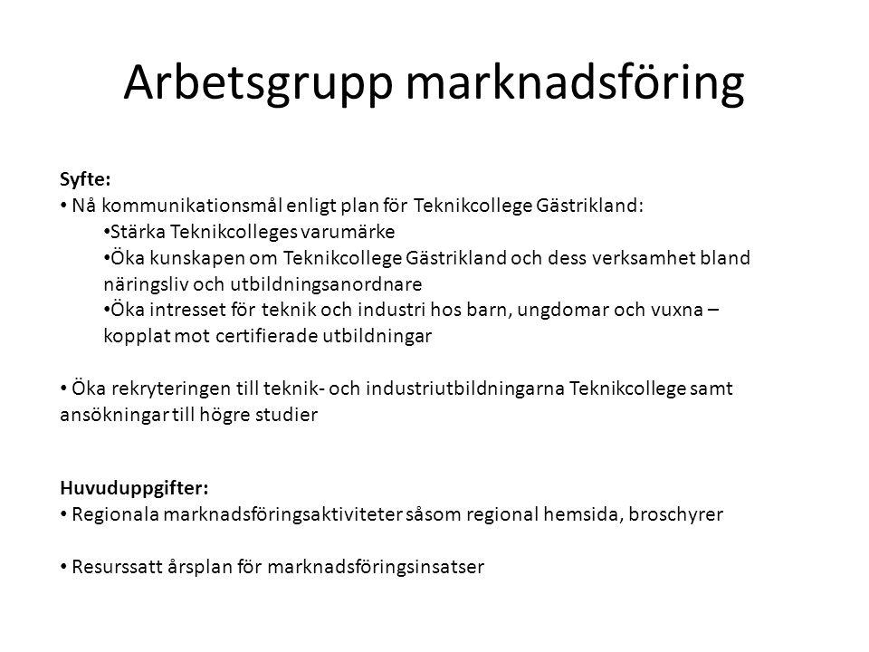Arbetsgrupp marknadsföring Syfte: • Nå kommunikationsmål enligt plan för Teknikcollege Gästrikland: • Stärka Teknikcolleges varumärke • Öka kunskapen