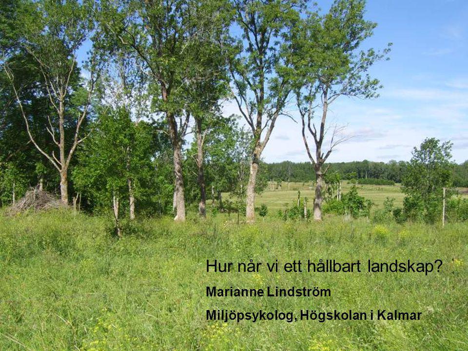 Hur når vi ett hållbart landskap? Marianne Lindström Miljöpsykolog Högskolan i Kalmar Hur når vi ett hållbart landskap? Marianne Lindström Miljöpsykol