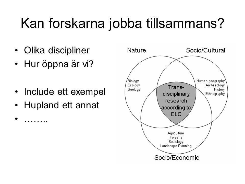 Kan forskarna jobba tillsammans? •Olika discipliner •Hur öppna är vi? •Include ett exempel •Hupland ett annat •……..