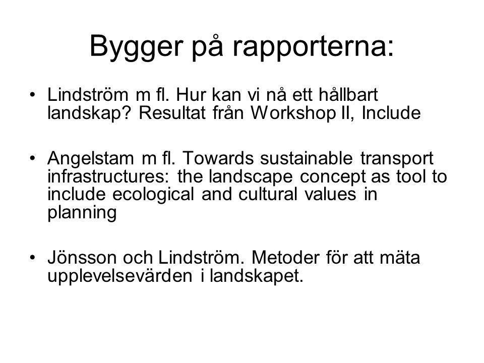 Bygger på rapporterna: •Lindström m fl. Hur kan vi nå ett hållbart landskap? Resultat från Workshop II, Include •Angelstam m fl. Towards sustainable t