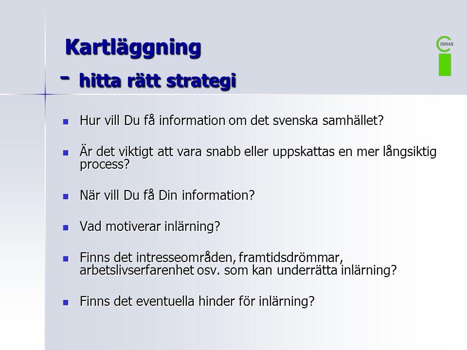 Kartläggning - hitta rätt strategi Kartläggning - hitta rätt strategi  Hur vill Du få information om det svenska samhället?  Är det viktigt att vara