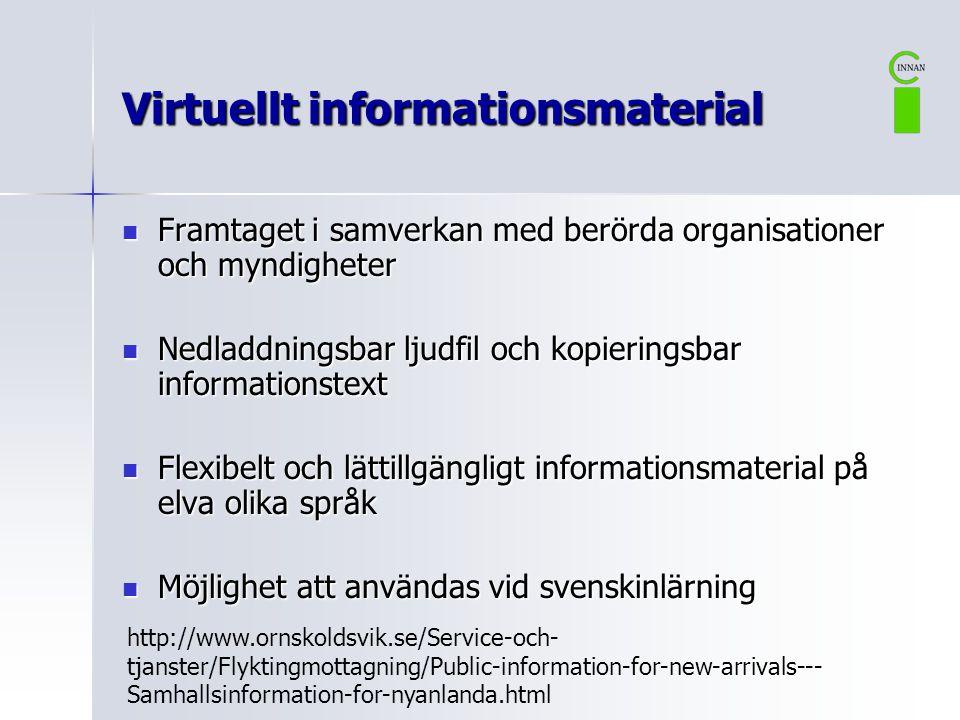 Virtuellt informationsmaterial  Framtaget i samverkan med berörda organisationer och myndigheter  Nedladdningsbar ljudfil och kopieringsbar informat