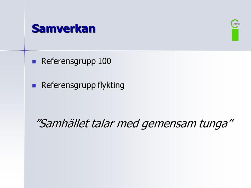 """Samverkan  Referensgrupp 100  Referensgrupp flykting """"Samhället talar med gemensam tunga"""""""
