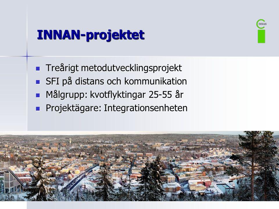  Treårigt metodutvecklingsprojekt  SFI på distans och kommunikation  Målgrupp: kvotflyktingar 25-55 år  Projektägare: Integrationsenheten INNAN-pr