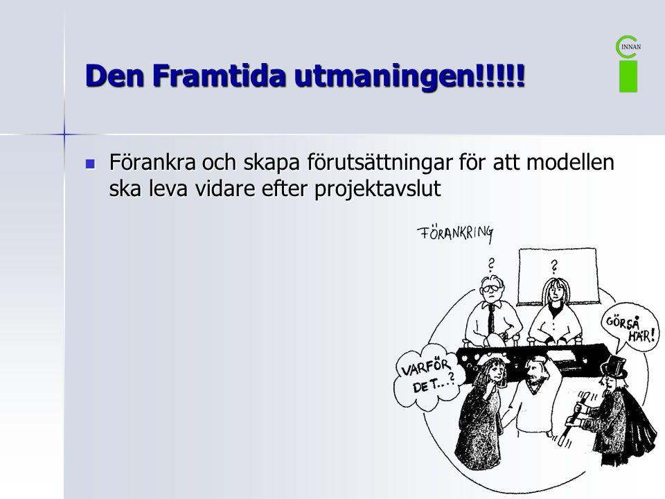 Den Framtida utmaningen!!!!!  Förankra och skapa förutsättningar för att modellen ska leva vidare efter projektavslut