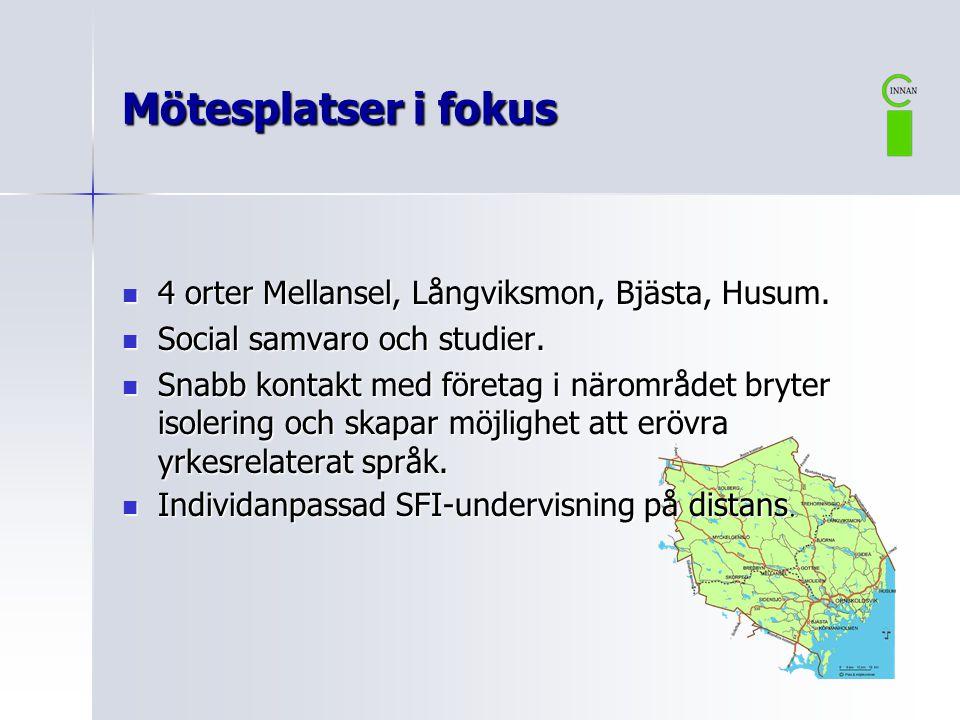  4 orter Mellansel, Långviksmon, Bjästa, Husum. Social samvaro och studier.