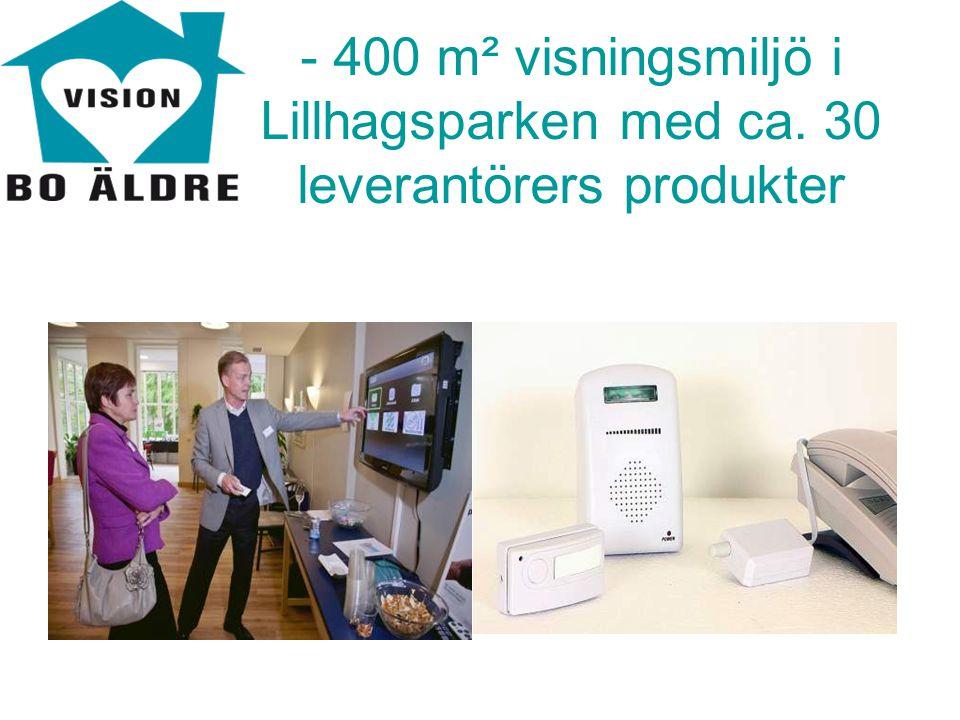- 400 m² visningsmiljö i Lillhagsparken med ca. 30 leverantörers produkter