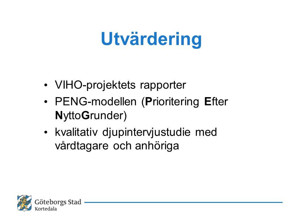Utvärdering • VIHO-projektets rapporter • PENG-modellen (Prioritering Efter NyttoGrunder) • kvalitativ djupintervjustudie med vårdtagare och anhöriga
