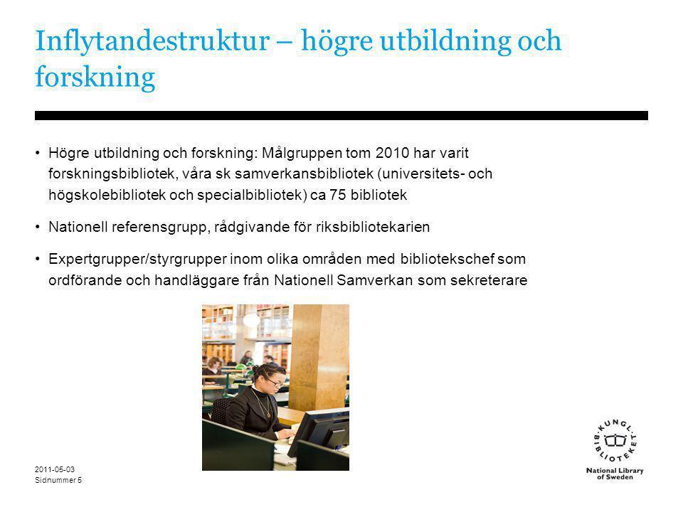 Sidnummer 2011-05-03 5 Inflytandestruktur – högre utbildning och forskning •Högre utbildning och forskning: Målgruppen tom 2010 har varit forskningsbi