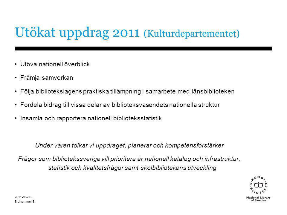 Sidnummer 2011-05-03 6 Utökat uppdrag 2011 (Kulturdepartementet) •Utöva nationell överblick •Främja samverkan •Följa bibliotekslagens praktiska tilläm