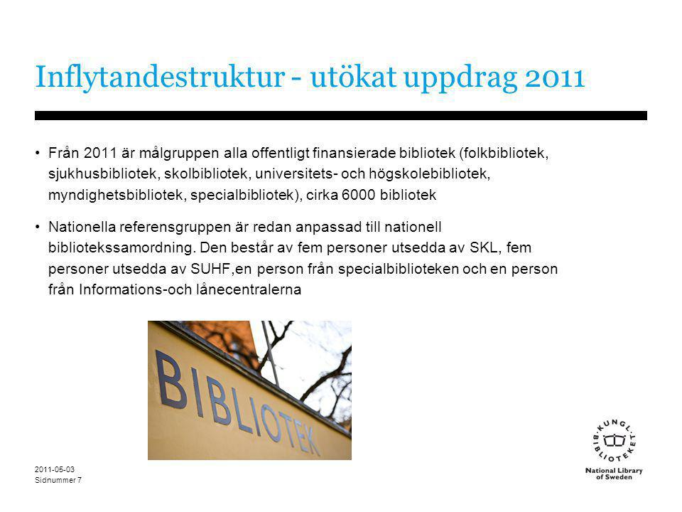 Sidnummer 2011-05-03 7 Inflytandestruktur - utökat uppdrag 2011 •Från 2011 är målgruppen alla offentligt finansierade bibliotek (folkbibliotek, sjukhu