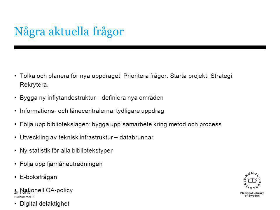 Sidnummer 2011-05-03 9 Några aktuella frågor •Tolka och planera för nya uppdraget. Prioritera frågor. Starta projekt. Strategi. Rekrytera. •Bygga ny i