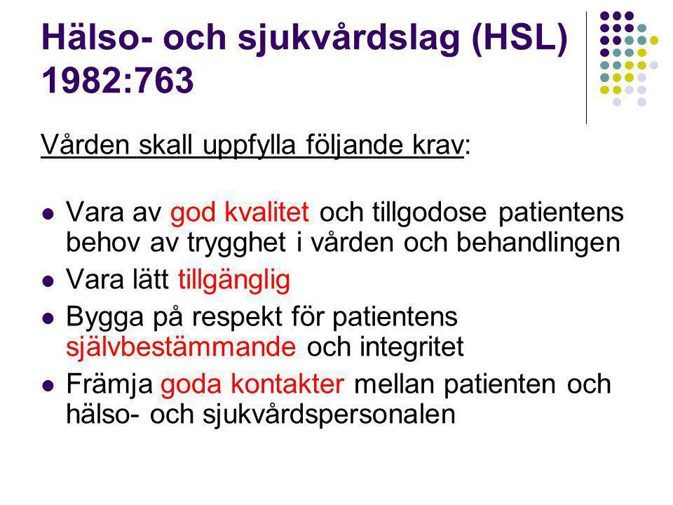 Hälso- och sjukvårdslag (HSL) 1982:763 Vården skall uppfylla följande krav:  Vara av god kvalitet och tillgodose patientens behov av trygghet i vården och behandlingen  Vara lätt tillgänglig  Bygga på respekt för patientens självbestämmande och integritet  Främja goda kontakter mellan patienten och hälso- och sjukvårdspersonalen