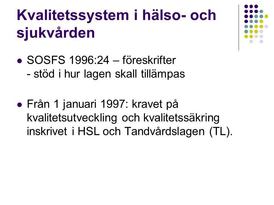 Kvalitetssystem i hälso- och sjukvården  SOSFS 1996:24 – föreskrifter - stöd i hur lagen skall tillämpas  Från 1 januari 1997: kravet på kvalitetsutveckling och kvalitetssäkring inskrivet i HSL och Tandvårdslagen (TL).