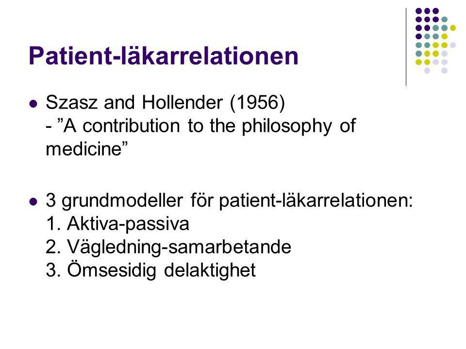 "Patient-läkarrelationen  Szasz and Hollender (1956) - ""A contribution to the philosophy of medicine""  3 grundmodeller för patient-läkarrelationen: 1"