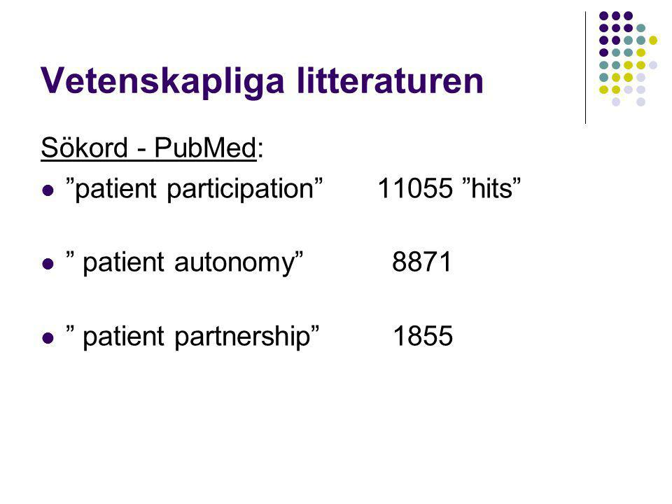 "Vetenskapliga litteraturen Sökord - PubMed:  ""patient participation""11055 ""hits""  "" patient autonomy"" 8871  "" patient partnership"" 1855"