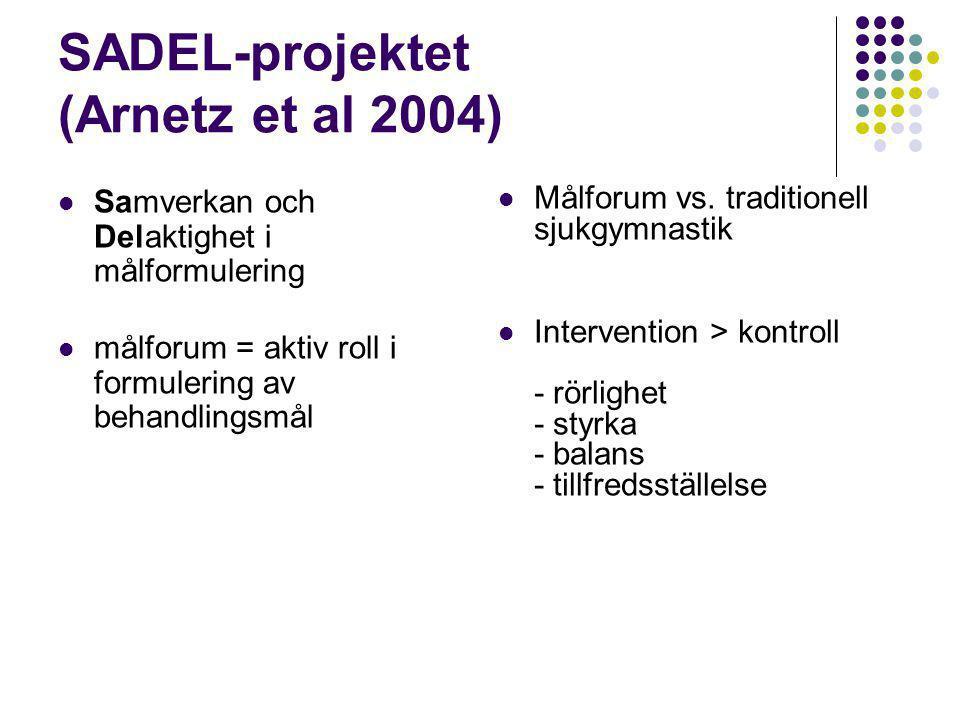 SADEL-projektet (Arnetz et al 2004)  Samverkan och Delaktighet i målformulering  målforum = aktiv roll i formulering av behandlingsmål  Målforum vs.