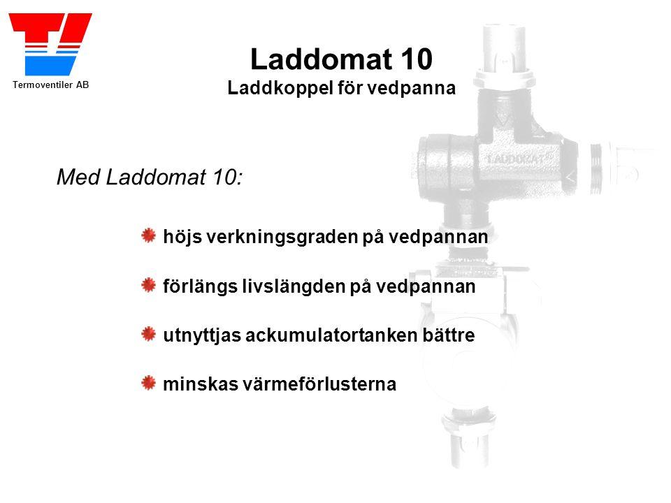 Termoventiler AB Laddomat 10 Laddkoppel för vedpanna höjs verkningsgraden på vedpannan förlängs livslängden på vedpannan utnyttjas ackumulatortanken bättre minskas värmeförlusterna Med Laddomat 10: