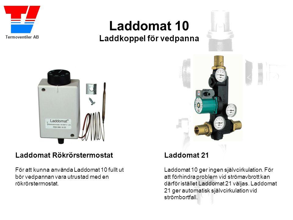Termoventiler AB Laddomat 10 Laddkoppel för vedpanna Laddomat Rökrörstermostat För att kunna använda Laddomat 10 fullt ut bör vedpannan vara utrustad med en rökrörstermostat.