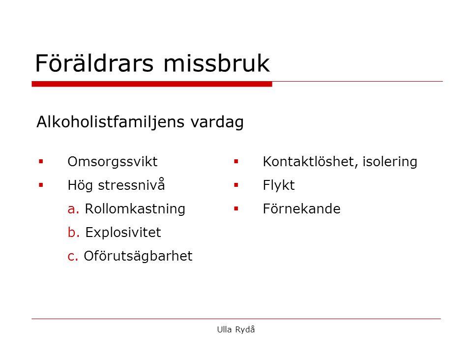  Omsorgssvikt  Hög stressnivå a. Rollomkastning b. Explosivitet c. Oförutsägbarhet Ulla Rydå Föräldrars missbruk  Kontaktlöshet, isolering  Flykt
