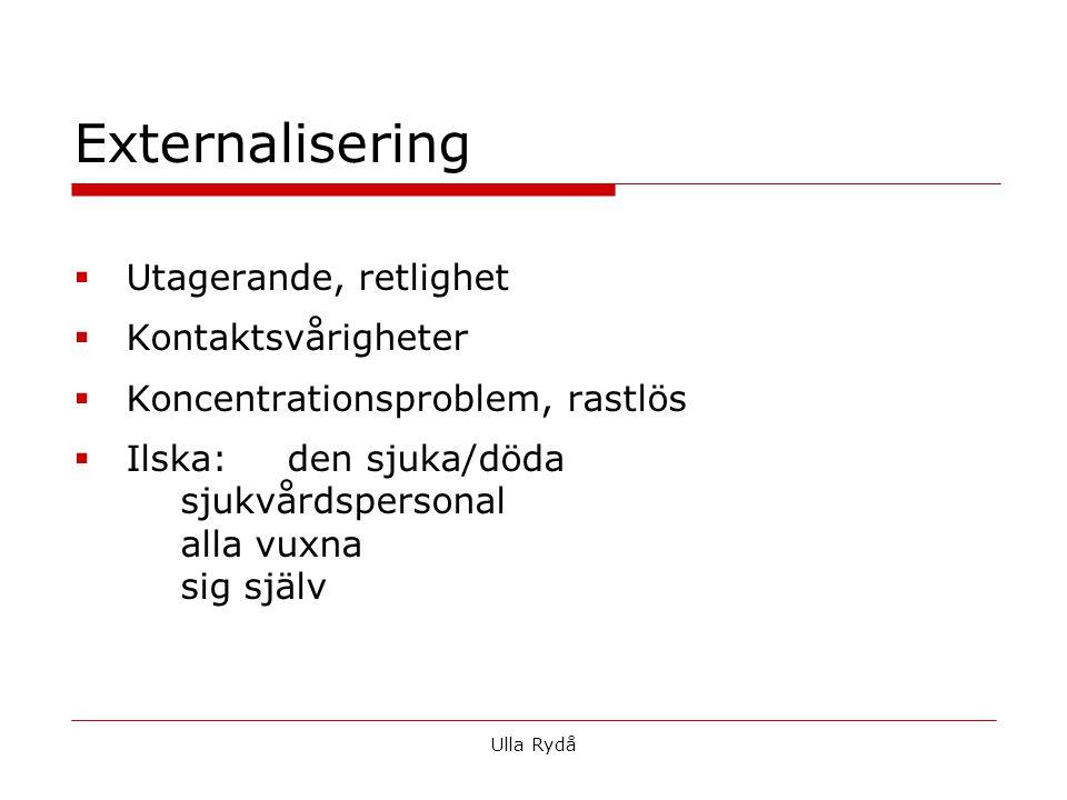  Utagerande, retlighet  Kontaktsvårigheter  Koncentrationsproblem, rastlös  Ilska:den sjuka/döda sjukvårdspersonal alla vuxna sig själv Externalisering Ulla Rydå