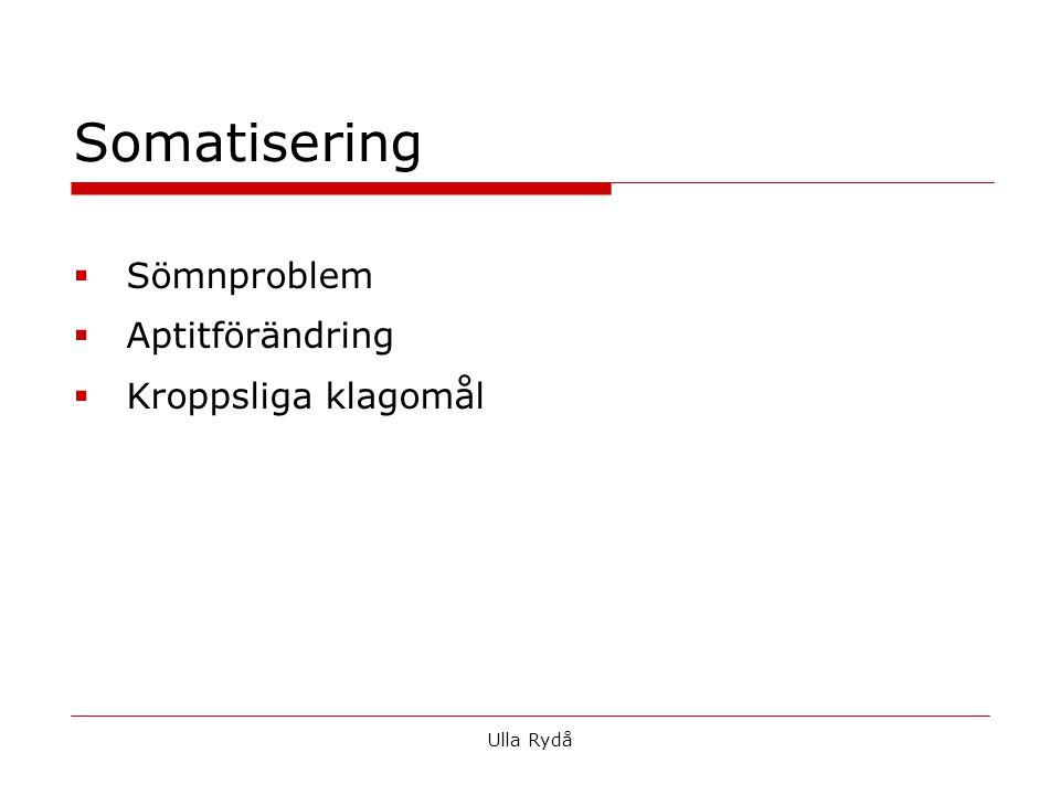  Sömnproblem  Aptitförändring  Kroppsliga klagomål Somatisering Ulla Rydå