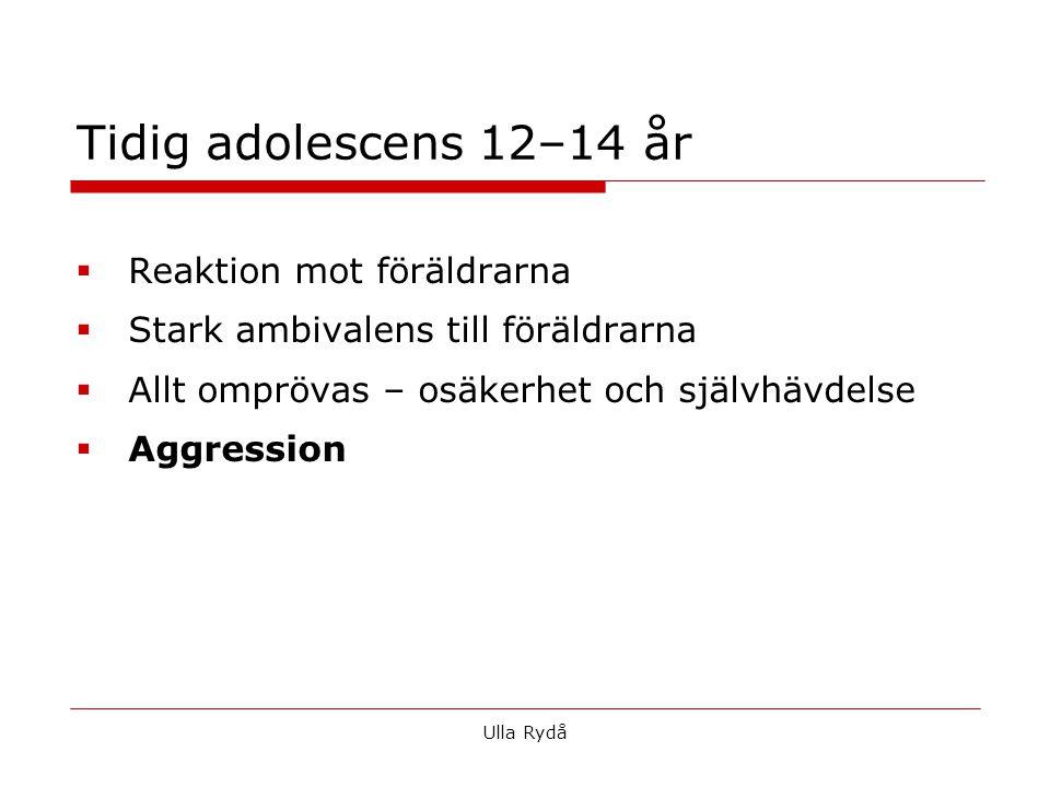 Tidig adolescens 12–14 år  Reaktion mot föräldrarna  Stark ambivalens till föräldrarna  Allt omprövas – osäkerhet och självhävdelse  Aggression Ulla Rydå