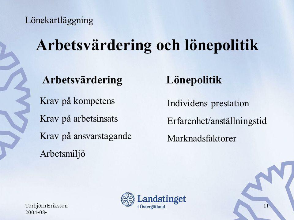 Torbjörn Eriksson 2004-08- 11 Arbetsvärdering och lönepolitik Arbetsvärdering Lönepolitik Lönekartläggning Krav på kompetens Krav på arbetsinsats Krav